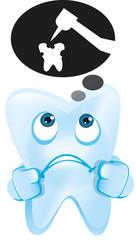 Zahn mit Denkblase Zahnarztbohrer