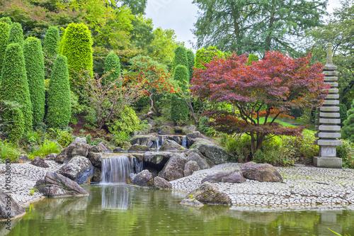 Fototapeta Cascade waterfall in Japanese garden in Bonn