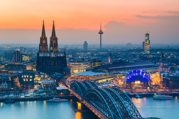 Cologne at dusk