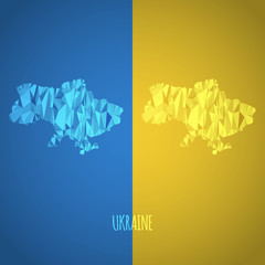 Low Poly Ukraine Map with National Colors