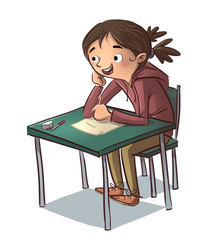 niña sentada estudiando