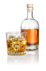 Whisky on the rocks mit Flasche