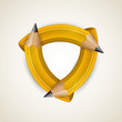 Three curved pencil - corporate symbol, design element abstaktny