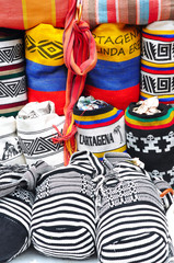 Colombian bags on a market stall in Cartagena, Colombia