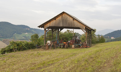 farm tractor garage in the mountains