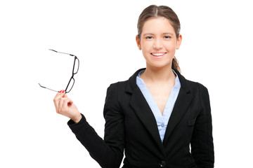 Smiling female manager holding her glasses