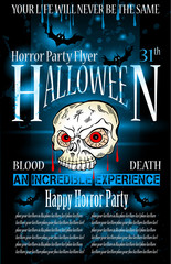 Halloween Horror Party flyer with a lot of themed elements