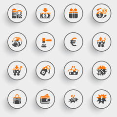 Commerce icons with white buttons on gray background.