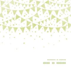 Green Textile Party Bunting Horizontal Frame Seamless Pattern