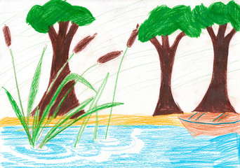 Big green trees, bulrushes and boat on the riverside. Kid's draw