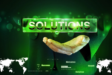 Smart hand showing the word solution