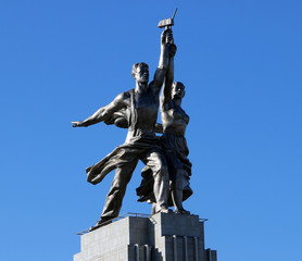 monument of the Soviet Union against the sky