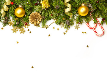 Christmas Decorations  isolated on white background- horizontal