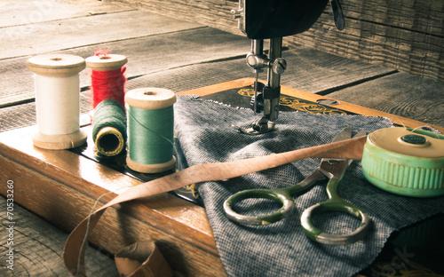 Leinwandbild Motiv Sewing. Sewing machine and tools.