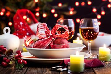 Christmas dishware on the table