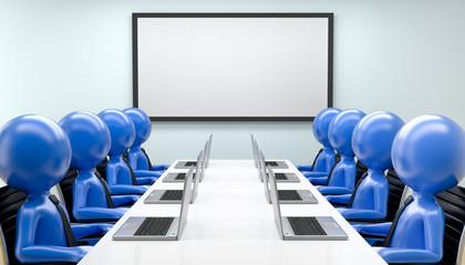 blaue Männchen im Konferenzraum
