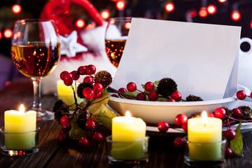 Christmas card in dishware