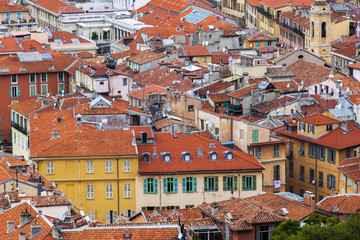 Nice, France. A view of the city from a higре point. Red roofs