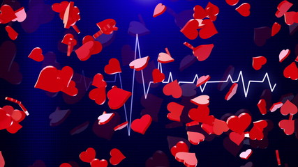 Abstract Hearts on blue ECG line background