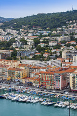 Nice, France. View of city port and the house on the embankment