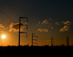 Electrical Power Lines at Sunset