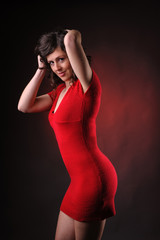 provocative woman in red dress