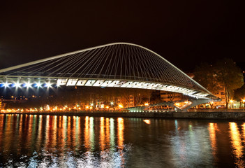 Zubizuri Bridge made by Santiago Calatrava in Bilbao, Spain