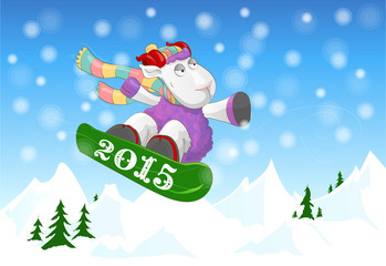 Funny ram riding a snowboard on winter mountain landscape