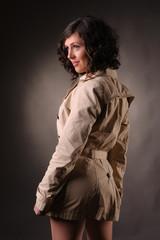 beautiful woman wearing a raincoat