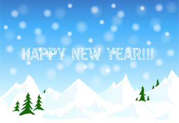 Happy new year card with winter snow landscape