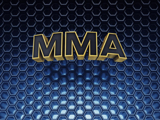 MMA text on blue hex background with copyspace
