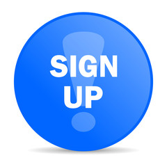 sign up internet blue icon