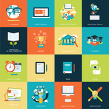 Fototapety Set of modern flat design concept icons for online education