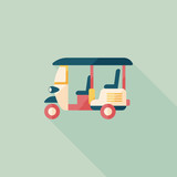 Fototapety Three wheeled motor rickshaw, flat icon with long shadow