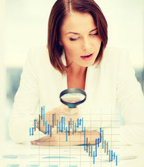 businesswoman working with graphs in office