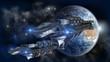 Spaceship fleet leaving Earth - 70536004