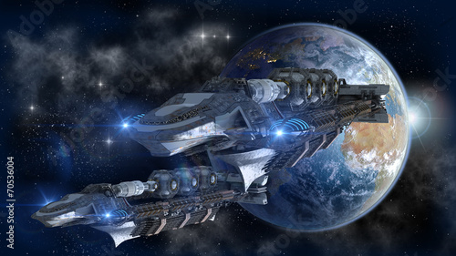 Spaceship fleet leaving Earth © 3000ad