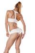 rear view of a pretty muscular women
