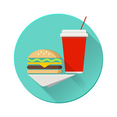 Cheeseburger with plastic cup on a napkin