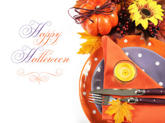 Halloween, Thanksgiving Autumn table place setting