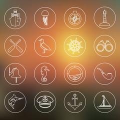 Nautical icons set outline