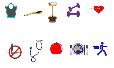 Healthy Lifestyle Color Icon Set