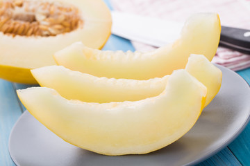 Melon slices on a plate