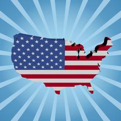 USA map flag on blue sunburst illustration