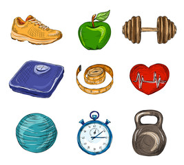 Fitness colored sketch icons