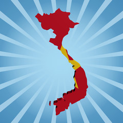 Vietnam map flag on blue sunburst illustration