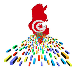 Tunisia map flag with containers illustration