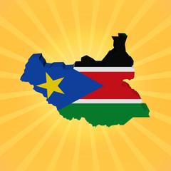 South Sudan map flag on sunburst illustration