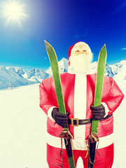 Winter holiday - Santa Claus with skis