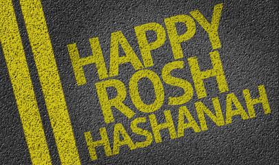Happy Rosh Hashanah written on the road